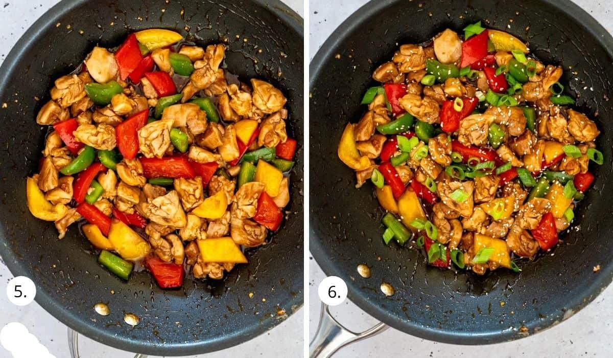 teriyaki chicken and veges in wok