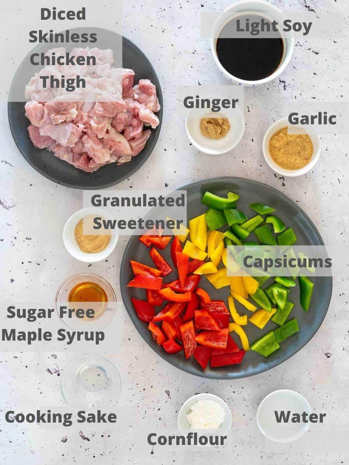 Ingredients for healthy teriyaki chicken