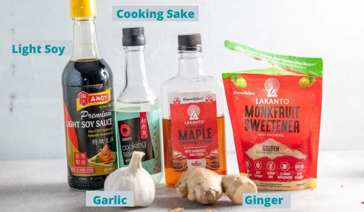 Ingredients for sugar free teriyaki sauce