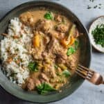 a bowl of thai green beef curry