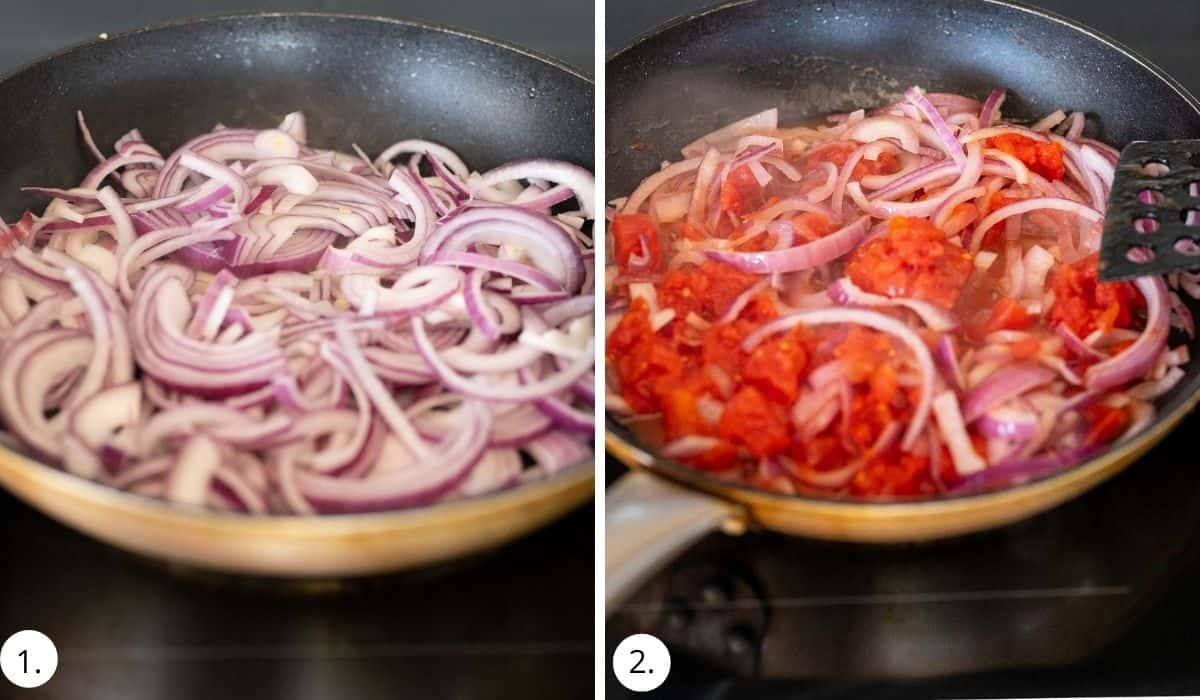 cooking red onions and tomatoes in a pan on the stove