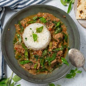 a bowl of kerala beef curry