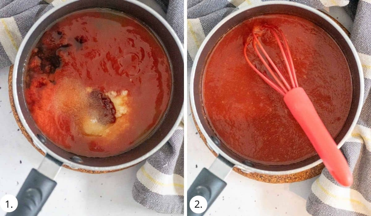 making sweet and sour sauce in a pot on stove