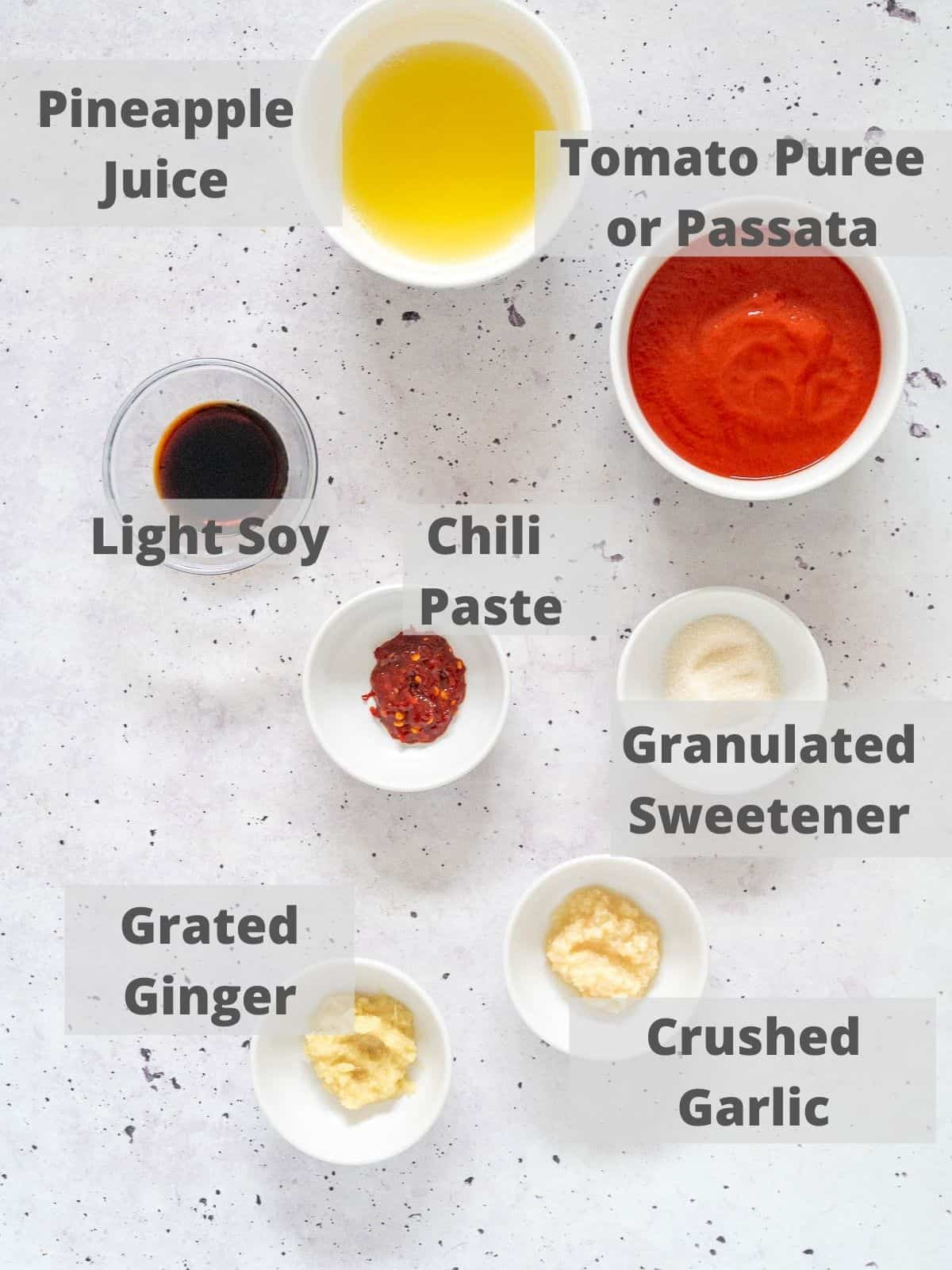 ingredients for sweet and sour sauce