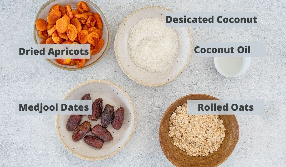 ingredients for apricot bliss balls