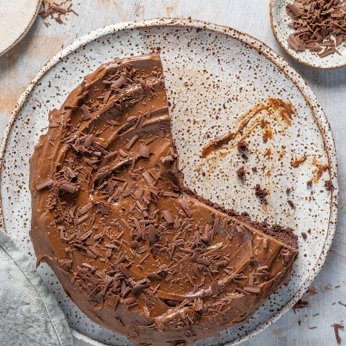 overhead chocolate black bean cake with frosting