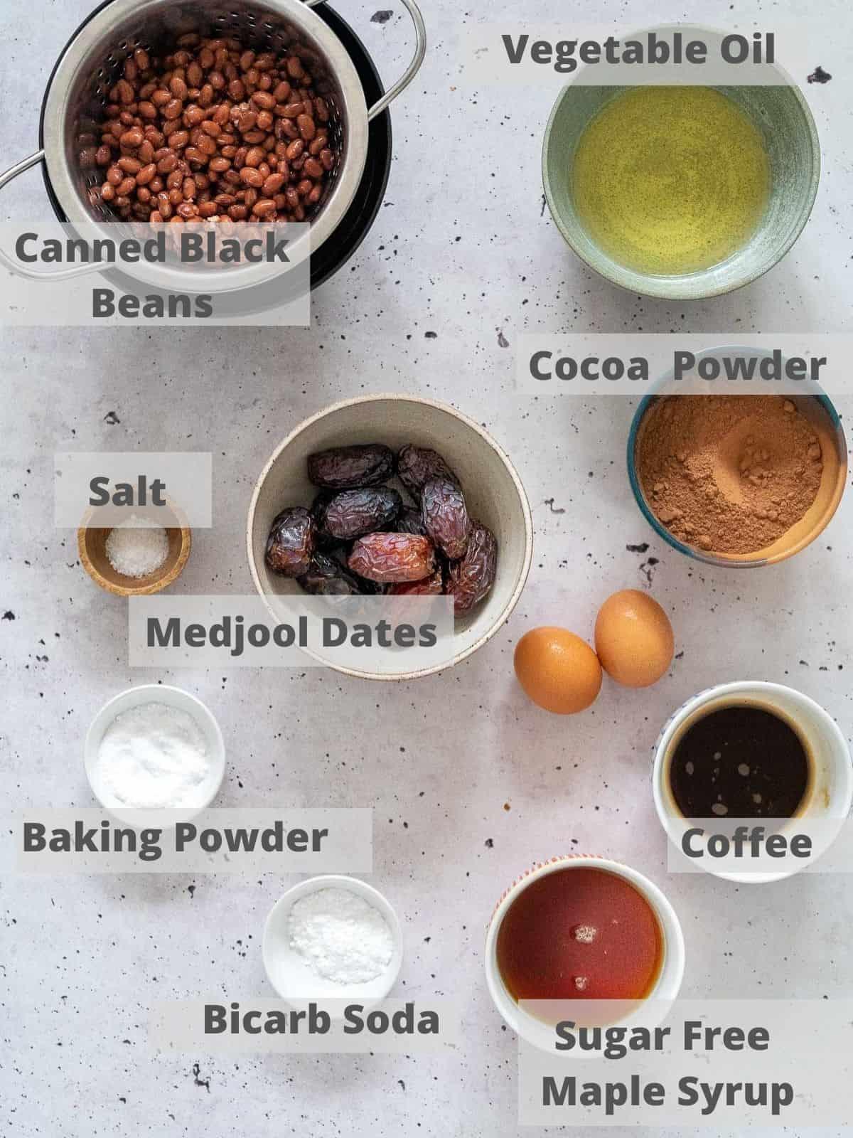 ingredients to make a black bean chocolate cake
