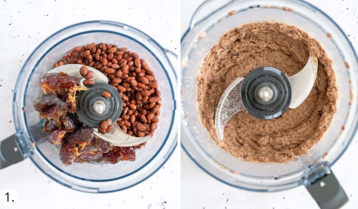 blitzing black beans and dates in food processor