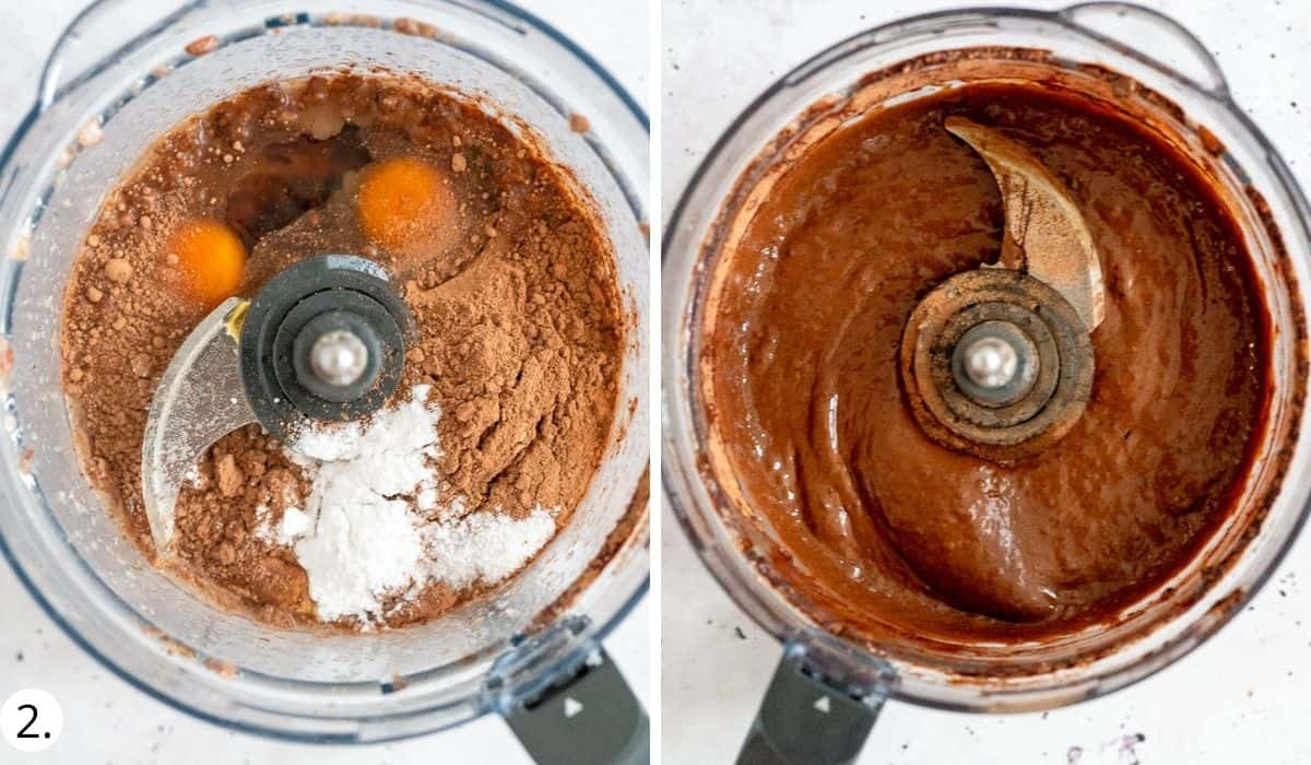 blitzing eggs and dry ingredients in food processor