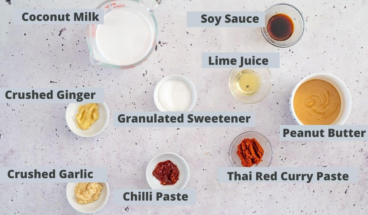 ingredients for satay curry sauce