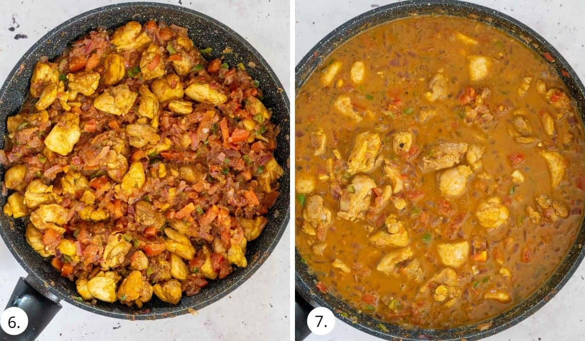 chicken kerala curry cooking in a pan