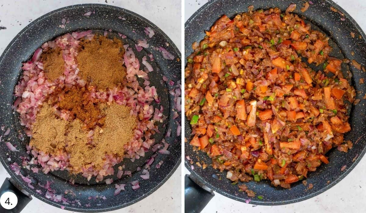 Adding spices and tomatoes to the onion mixture in a pan