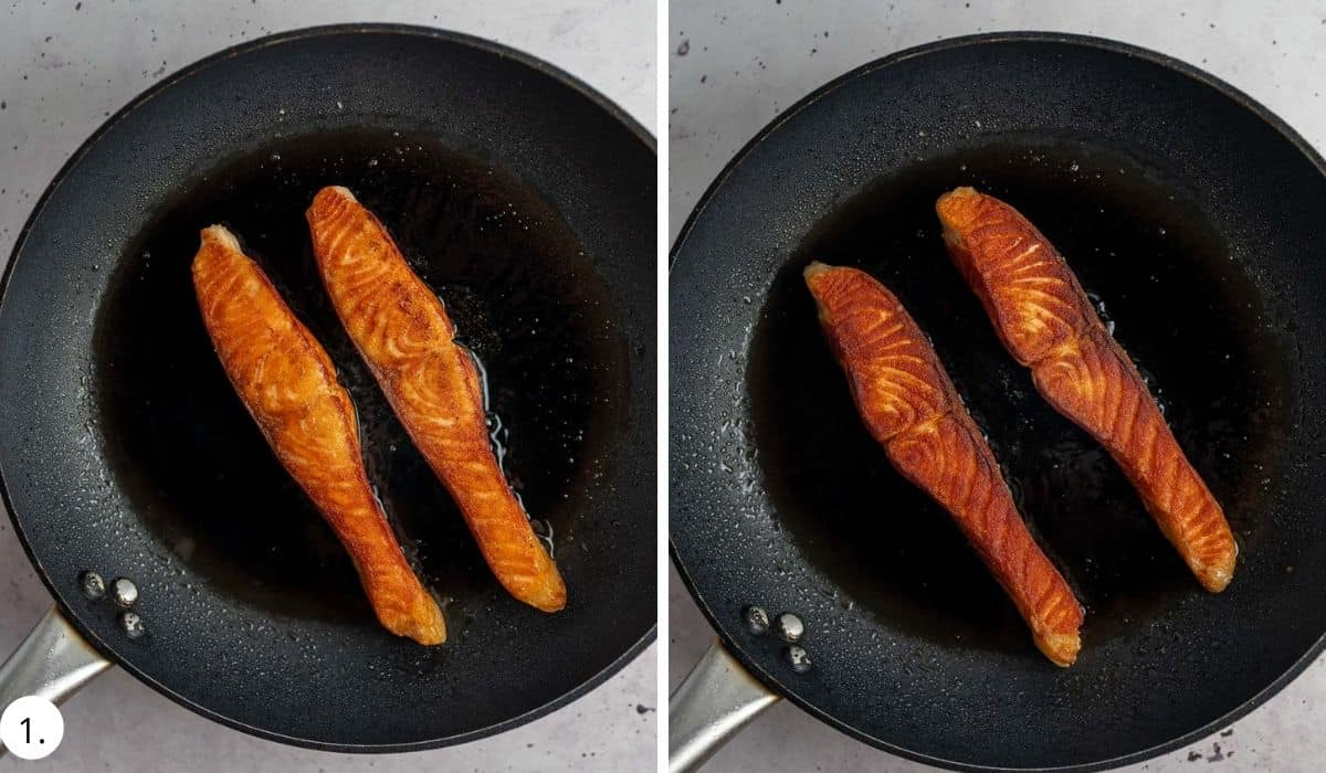 2 pieces of salmon cooking in a pan