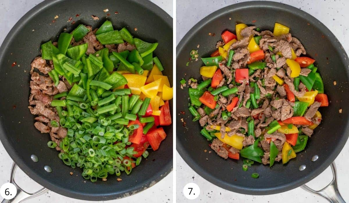 adding veges to beef in the wok