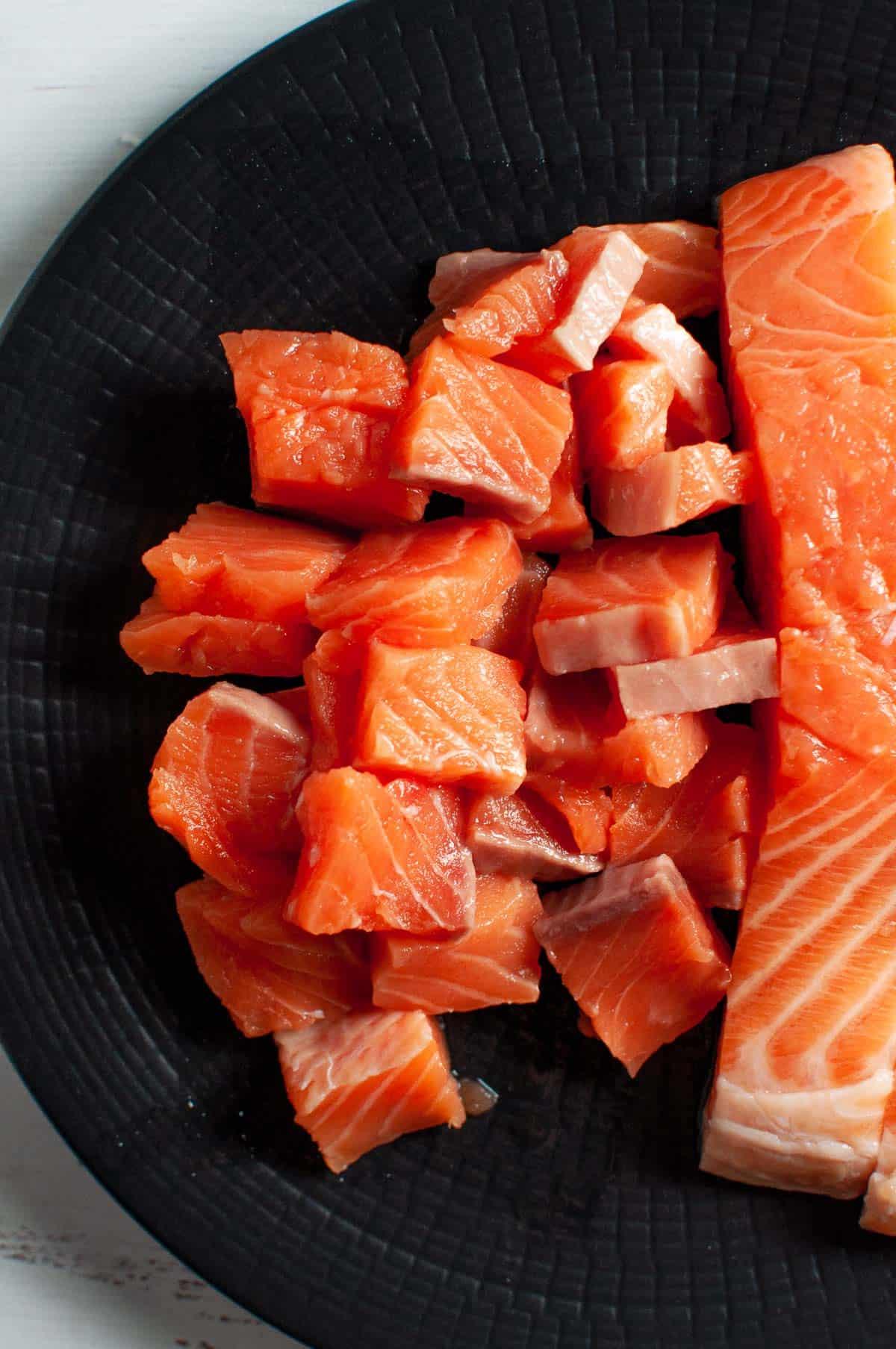 chopped salmon on a plate