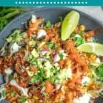 Salmon Burrito Bowl pinterest pin