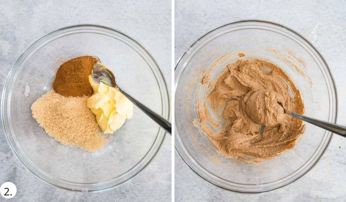 mixing ingredients for cinnamon sugar butter