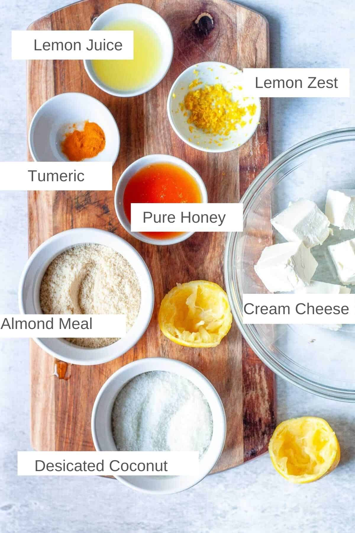 Ingredients for cheesecake balls
