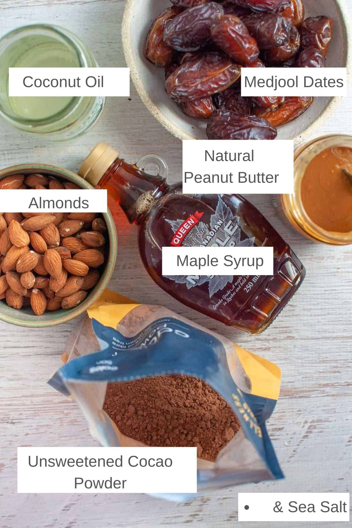 Ingredients for raw caramel slice on a bench