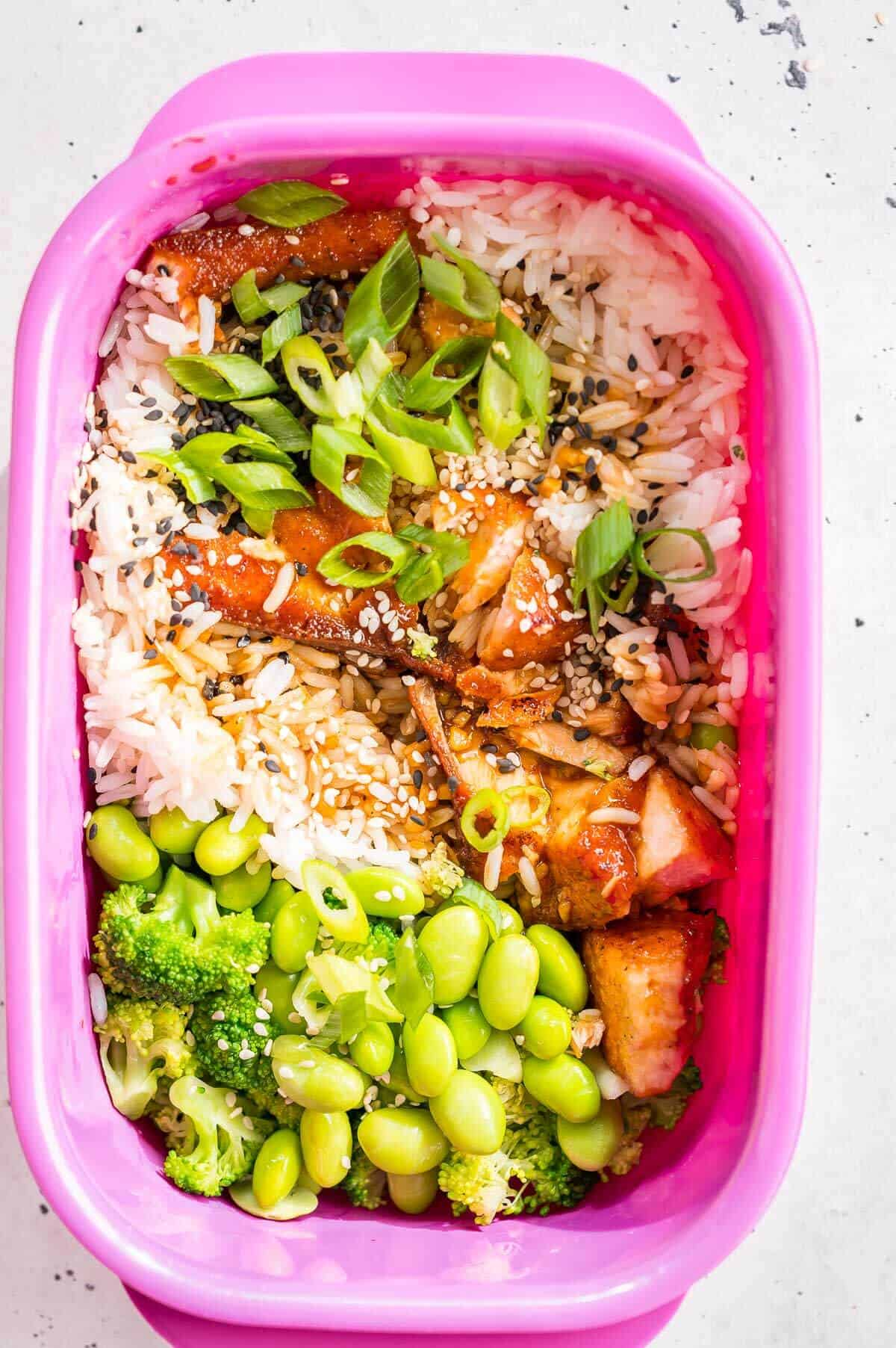 teriyaki chicken and rice in a meal prep container