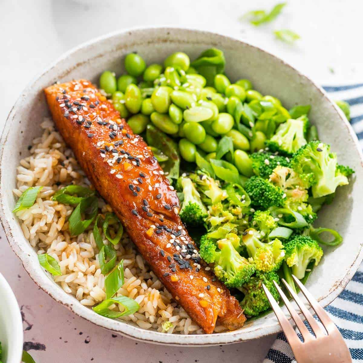 teriyaki salmon bowl with greens and rice