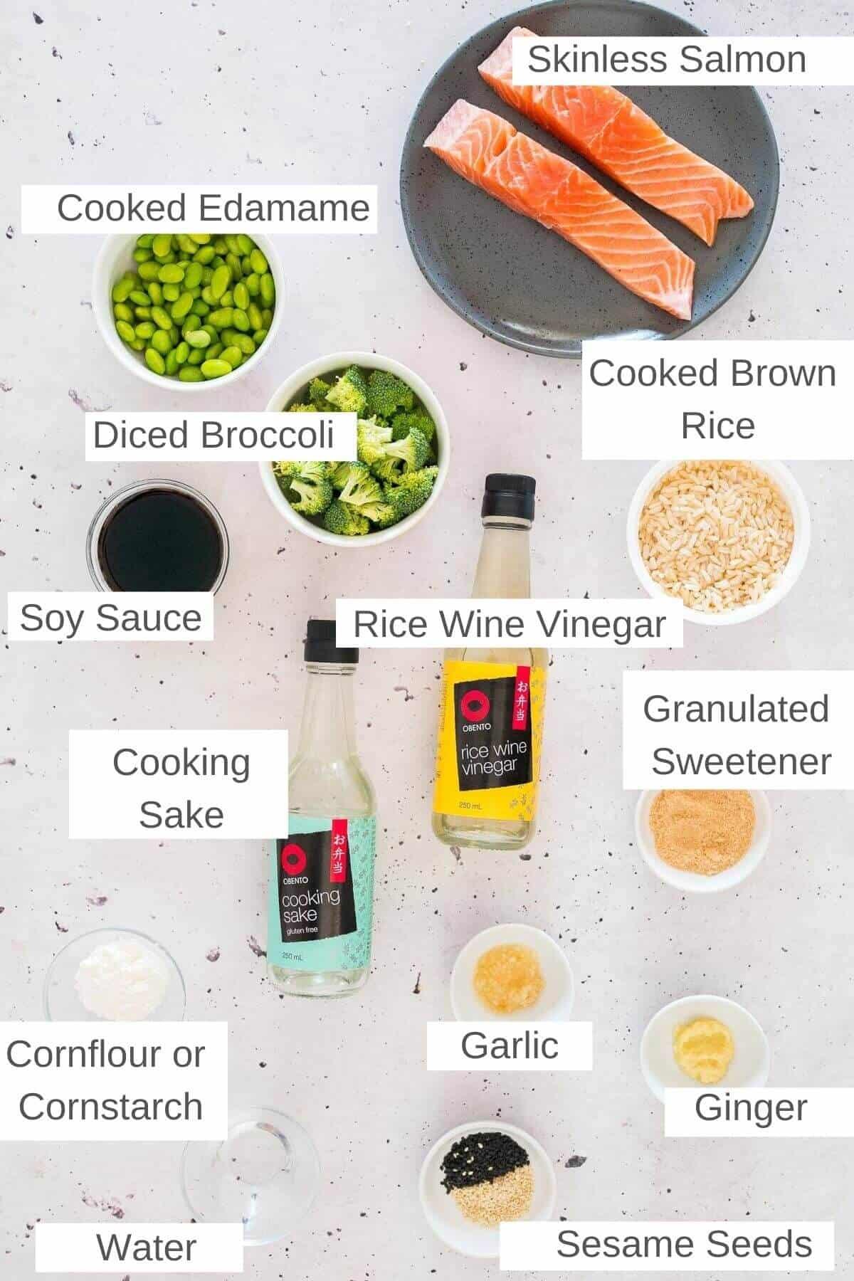 ingredients for teriyaki salmon bowls