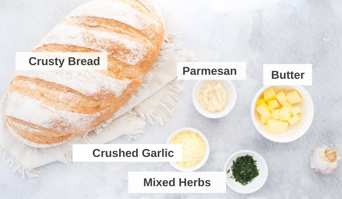 ingredients for air fryer garlic bread