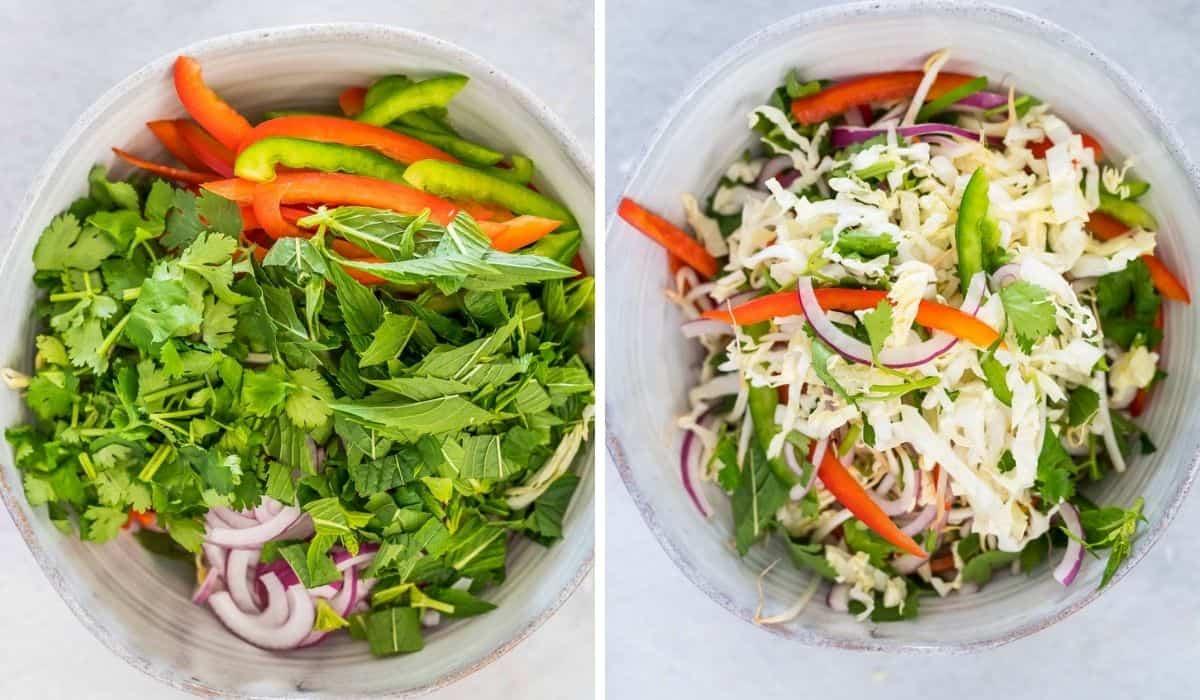 preparing salad ingredients in a salad bowl