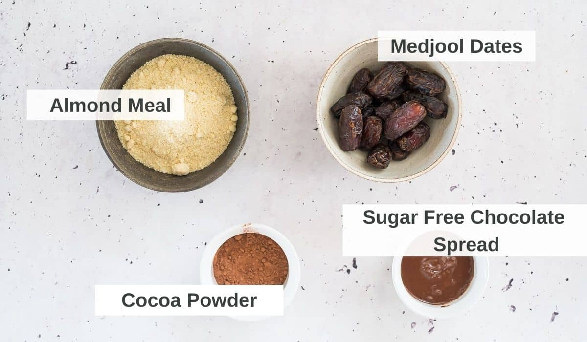 ingredients for chocolate date balls