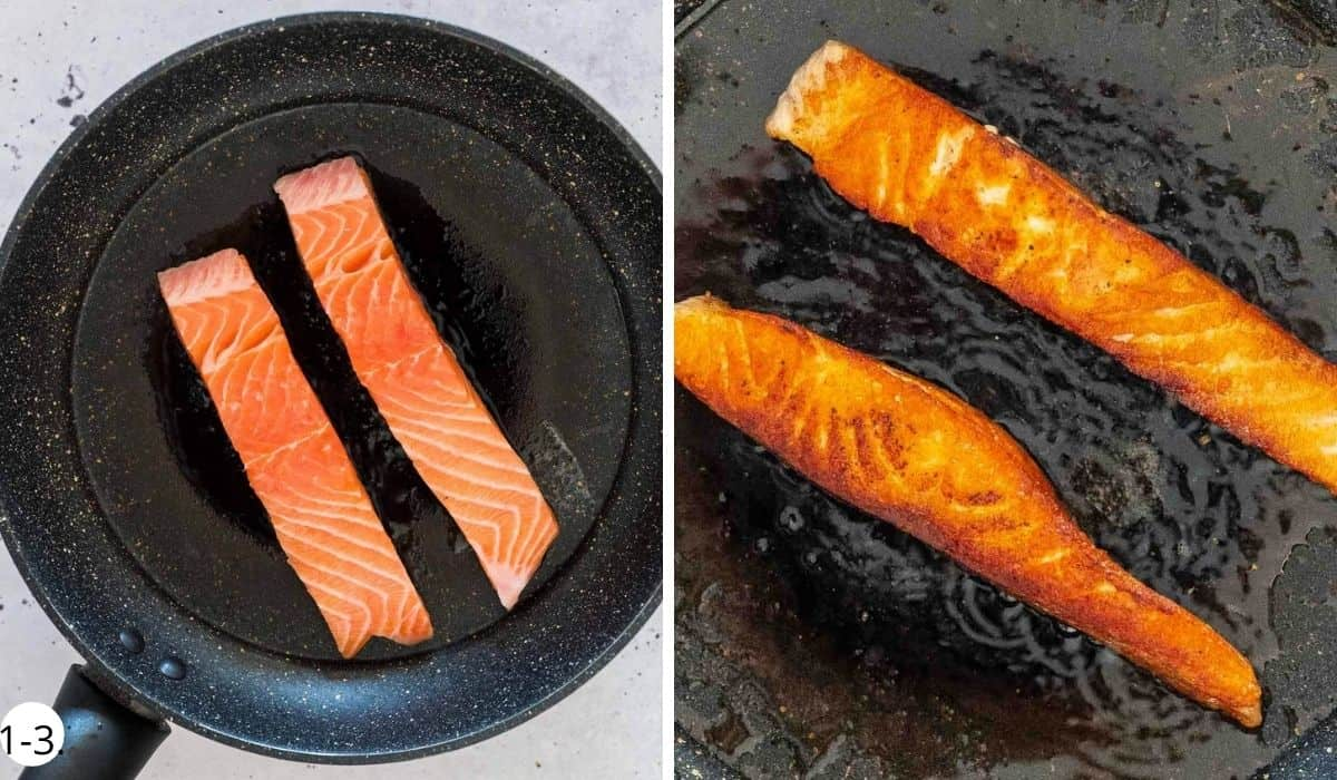 Cooking salmon in a pan