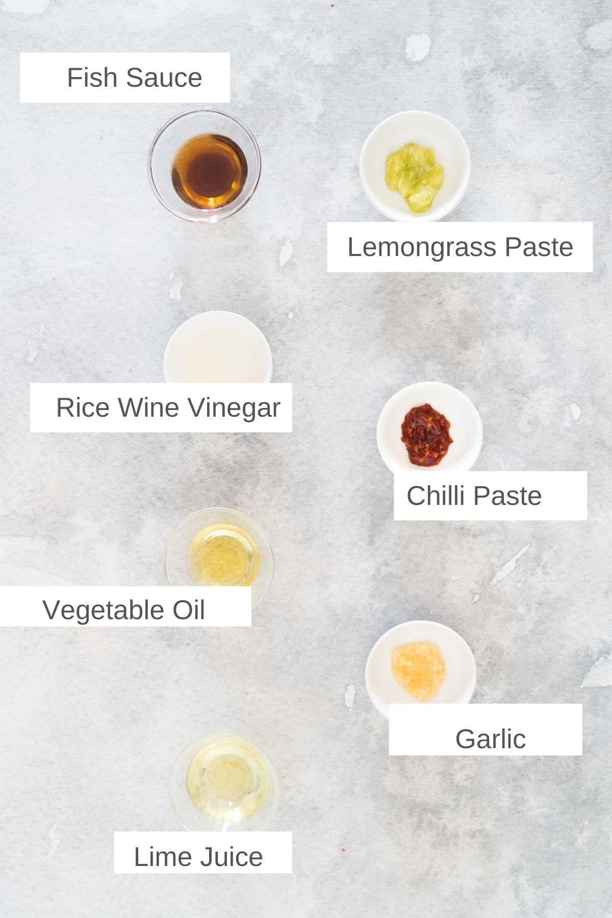 Ingredients for vietnamese salad dressing
