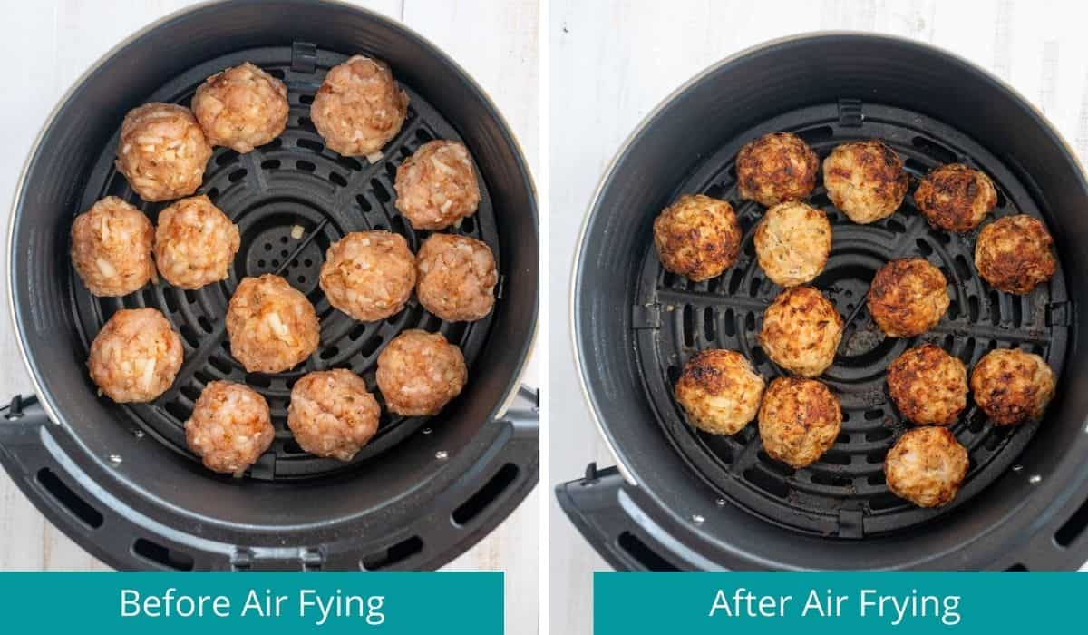 meatballs in air fryer before and after cooking