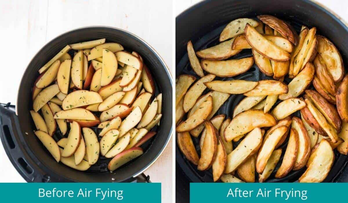 potato wedges before and after air frying