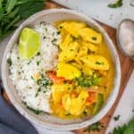 Coconut Chicken Curry and rice in a white bowl