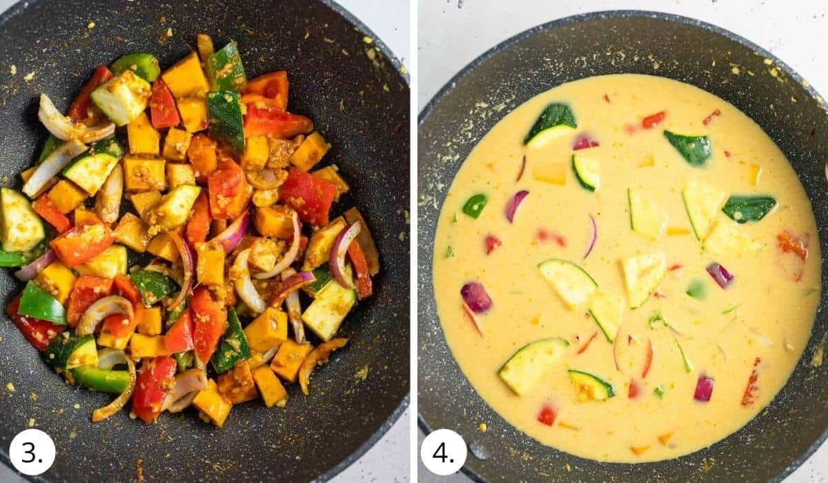 cooking vegetables in wok and adding coconut milk