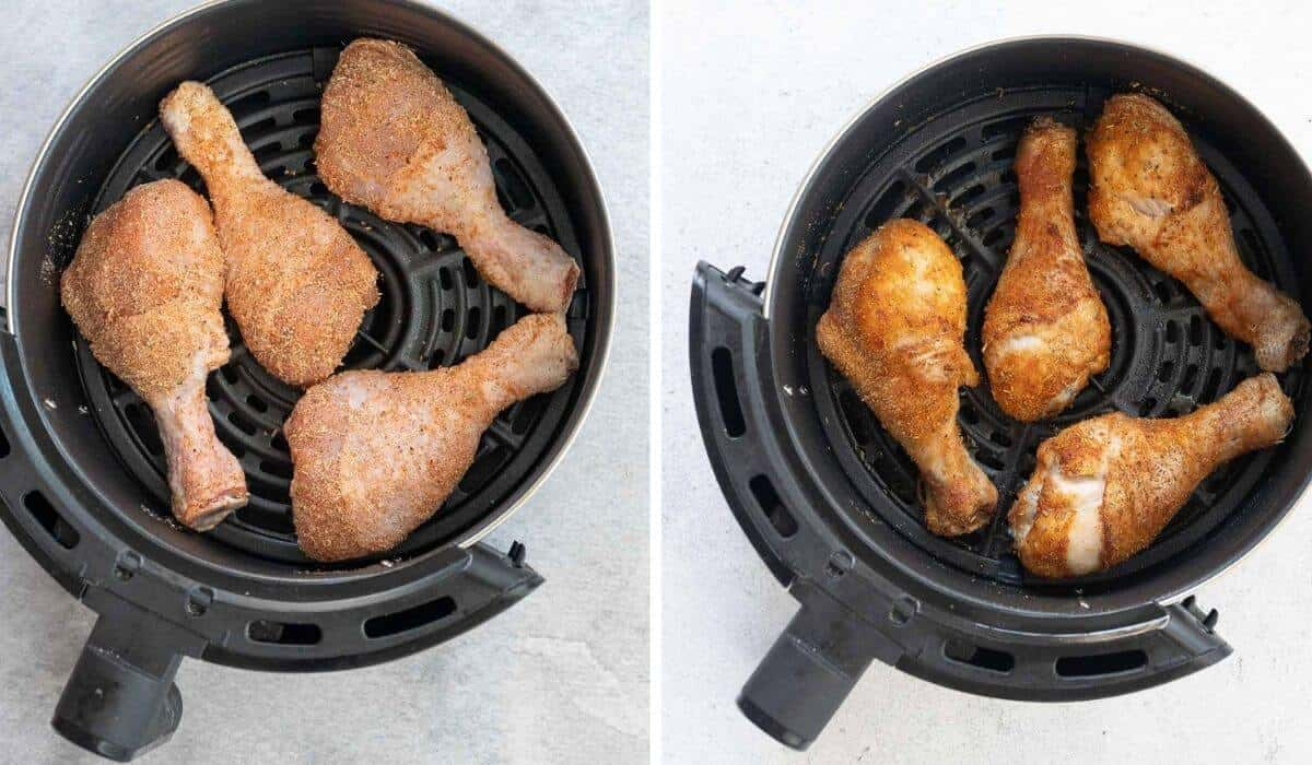 4 chicken drumsticks cooking in a air fryer, before and after