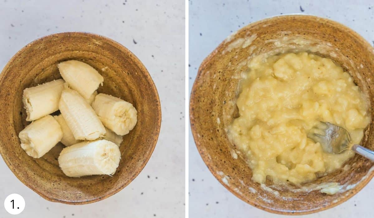 mashing banana in a bowl with fork