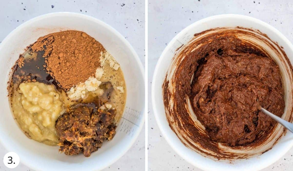 mixing brownie ingredients in a large bowl