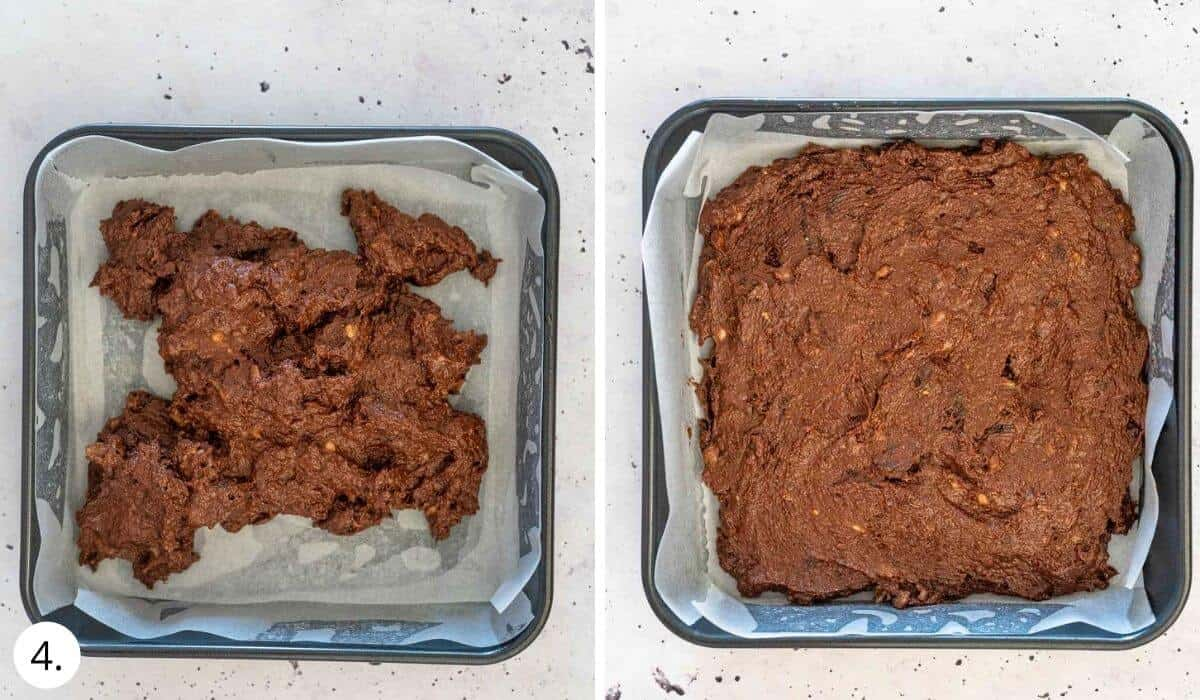 spreading brownie batter into  square baking tin