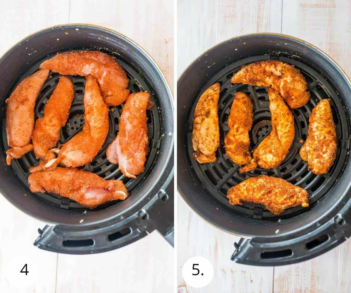 chicken tenders in air fryer before and after cooking
