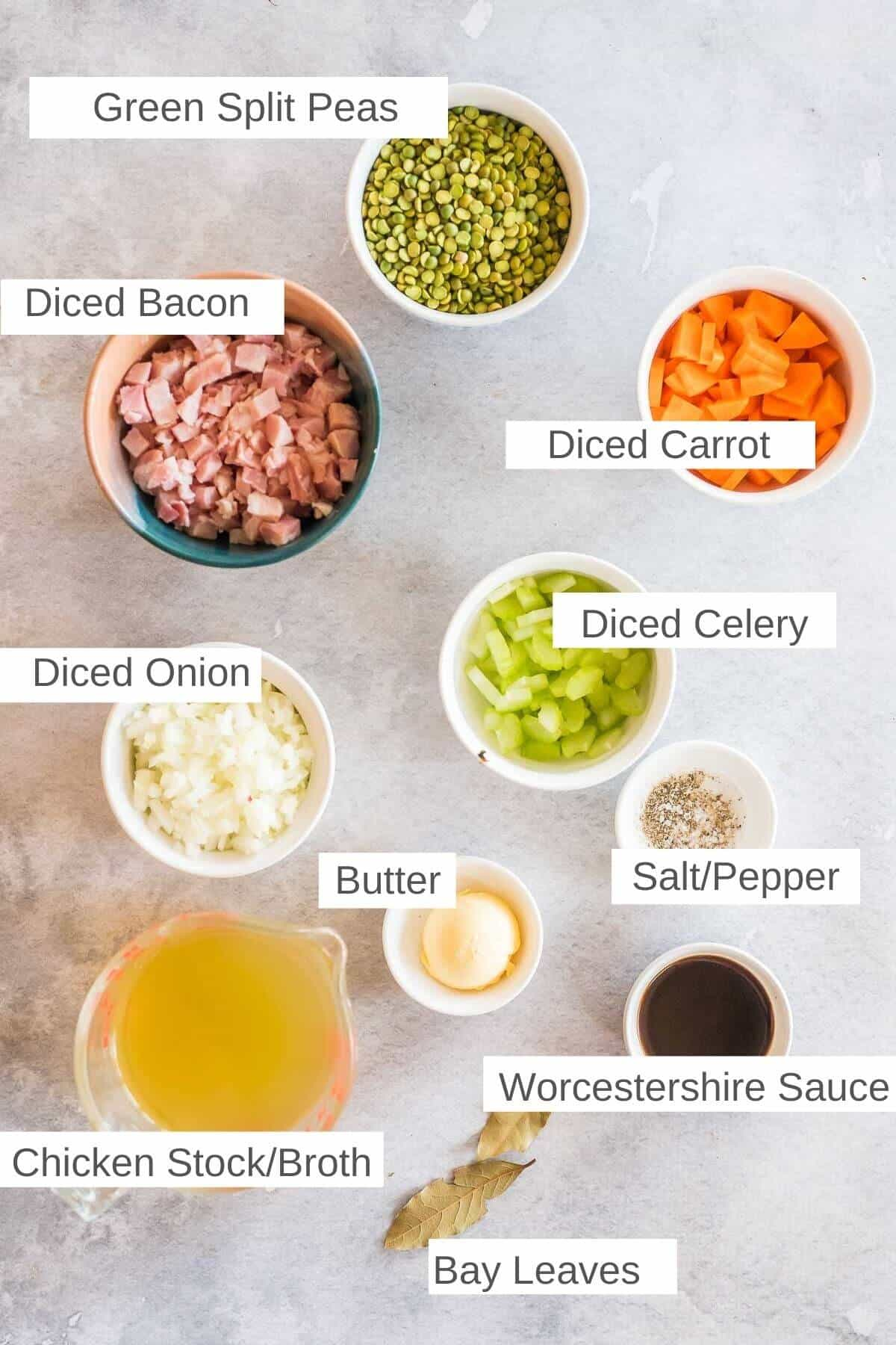 ingredients for split pea and bacon soup