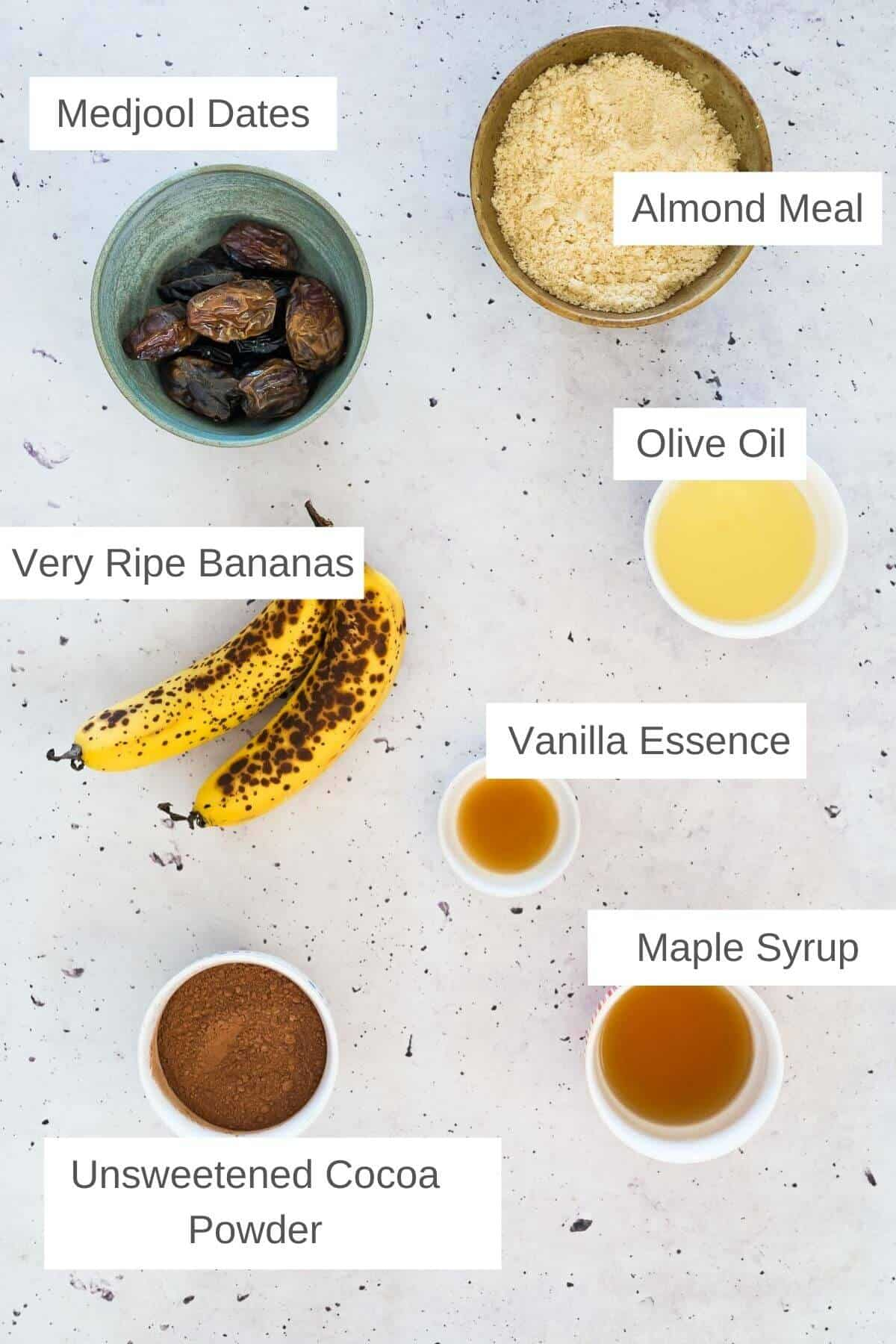 INgredients for chocolate banana brownies