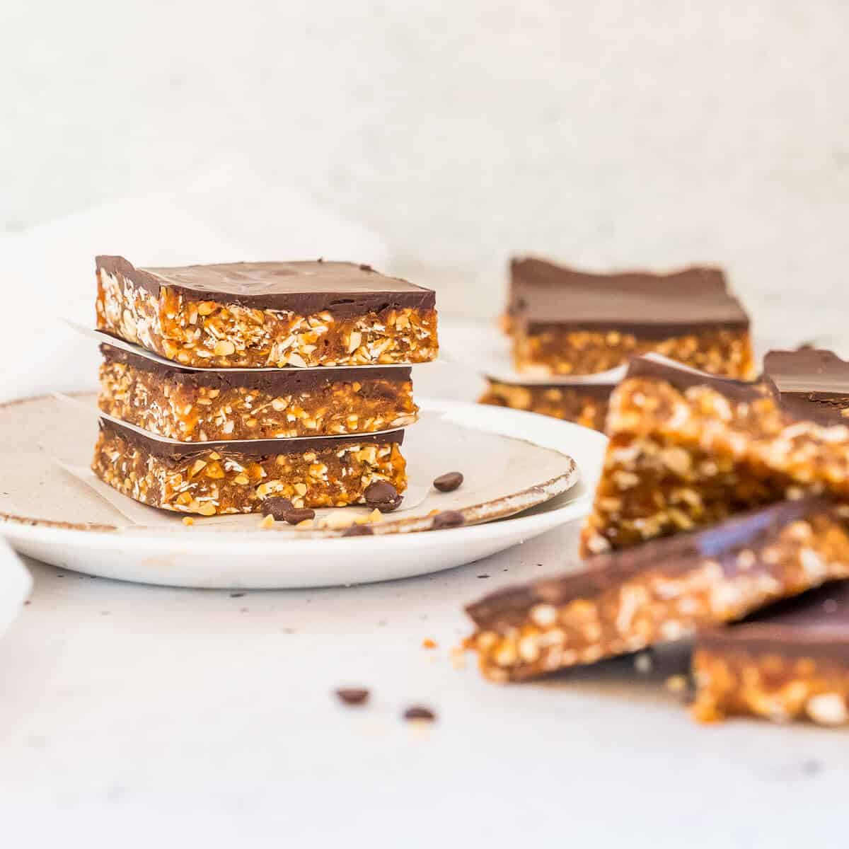 a scattering of chocolate peanut butter bars