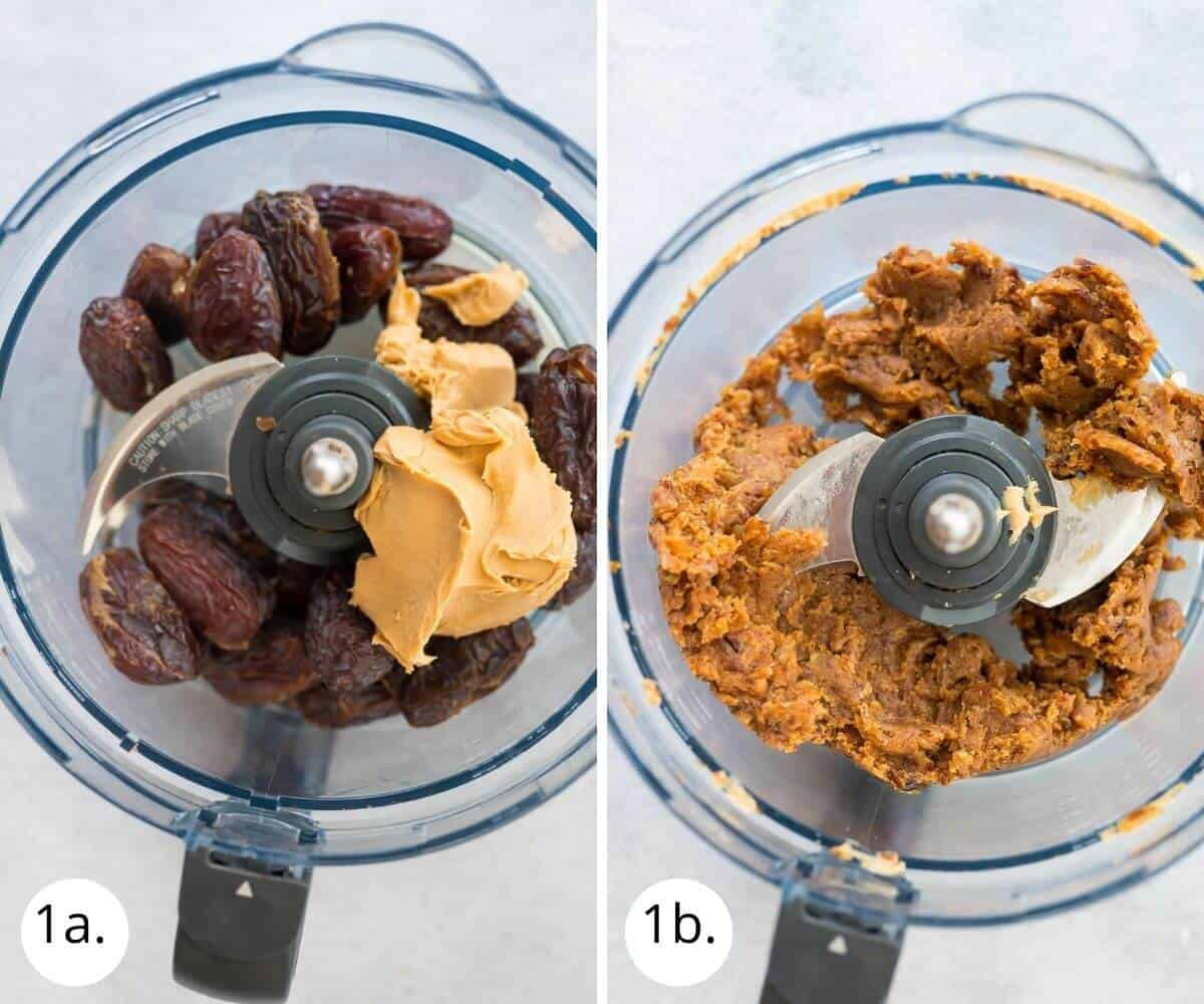 Blitzing dates and peanut butter in a food processor