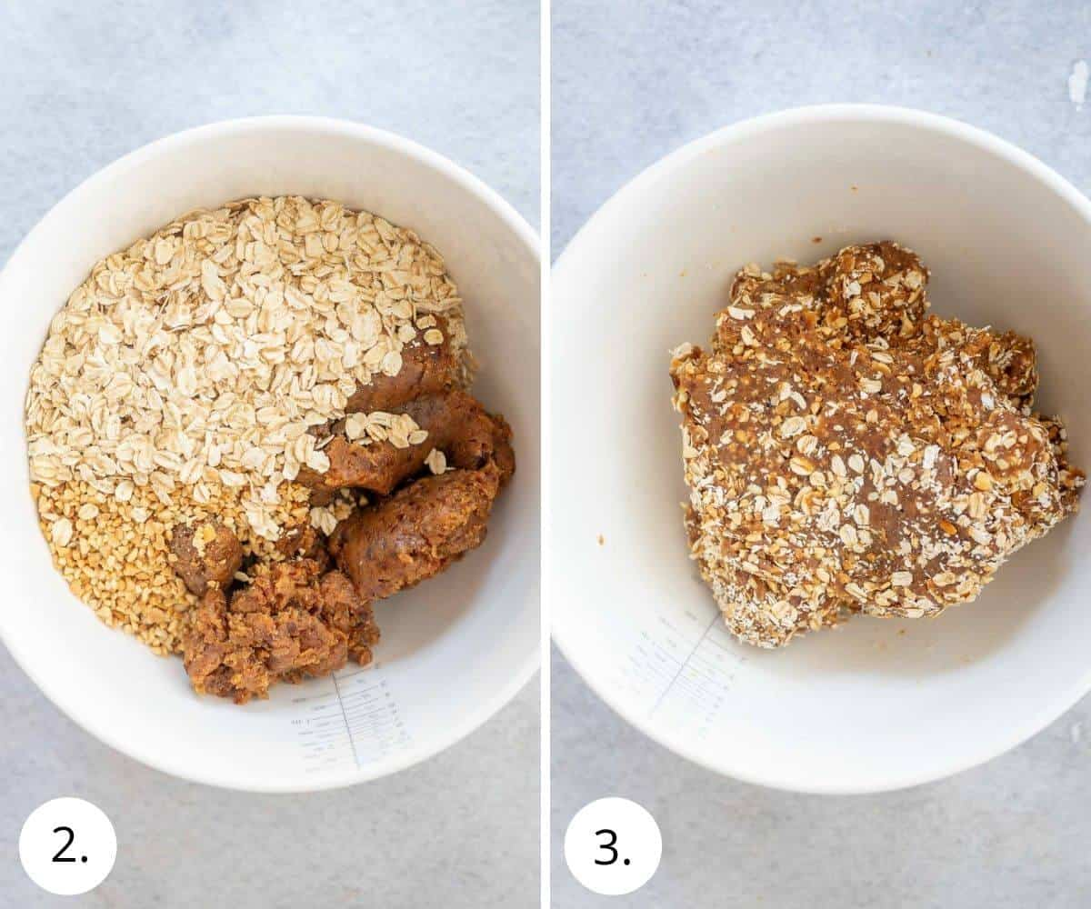 Mixing dates, peanut butter, peanut and oats in a bowl