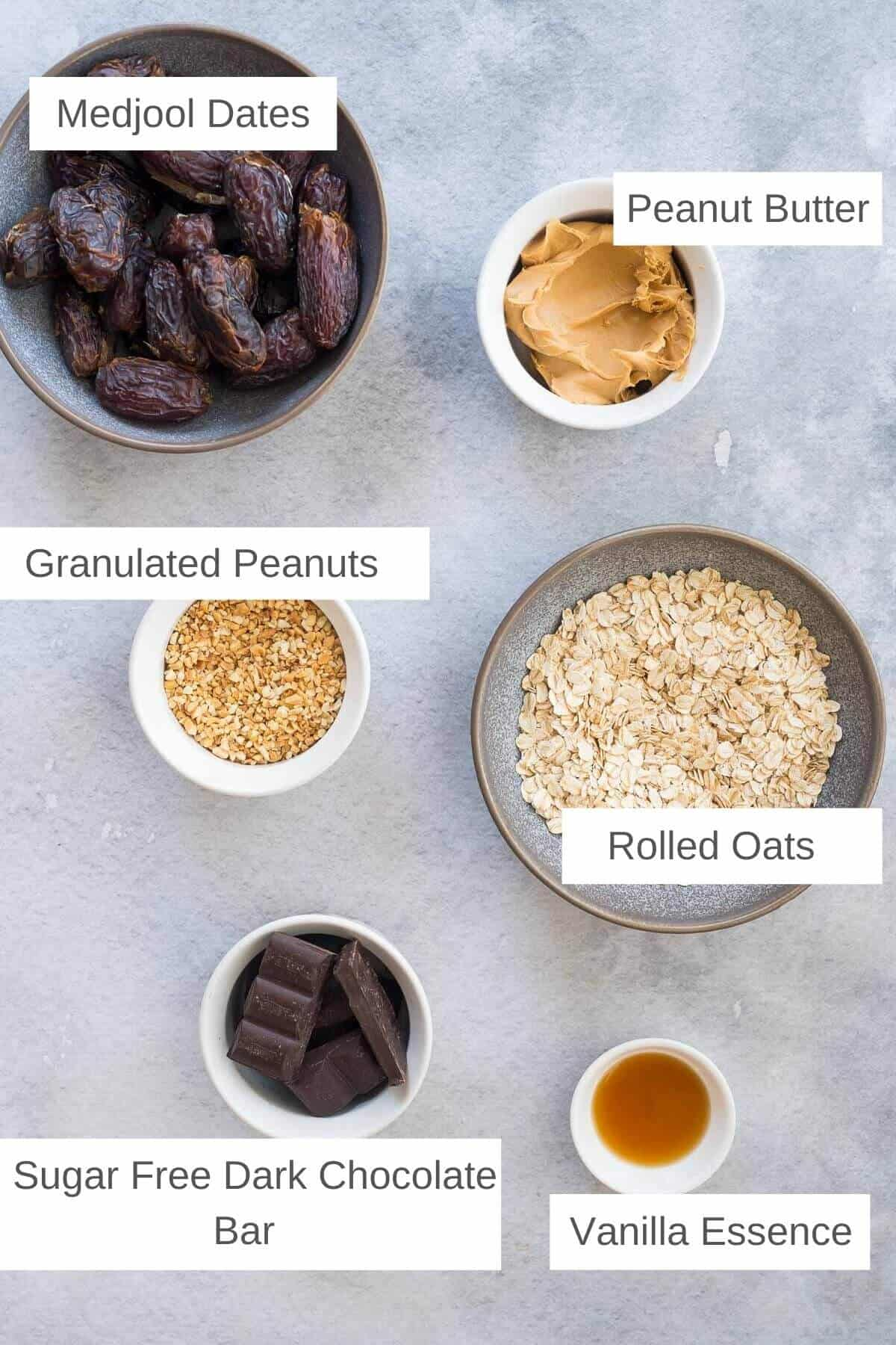 ingredients for no bake chocolate peanut butter oat bars