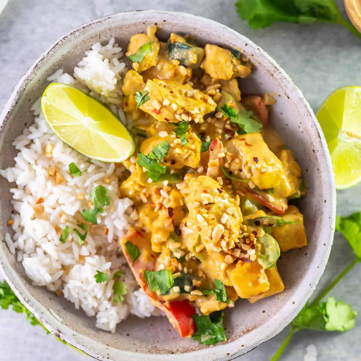 chicken satay curry with rice in a bowl