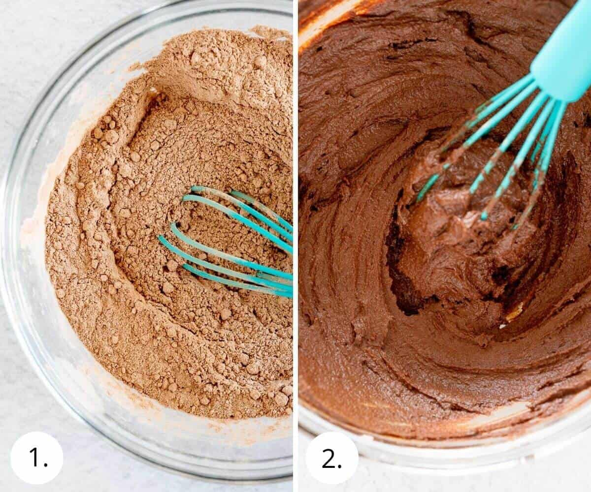 whisking frosting ingredients together in a bowl