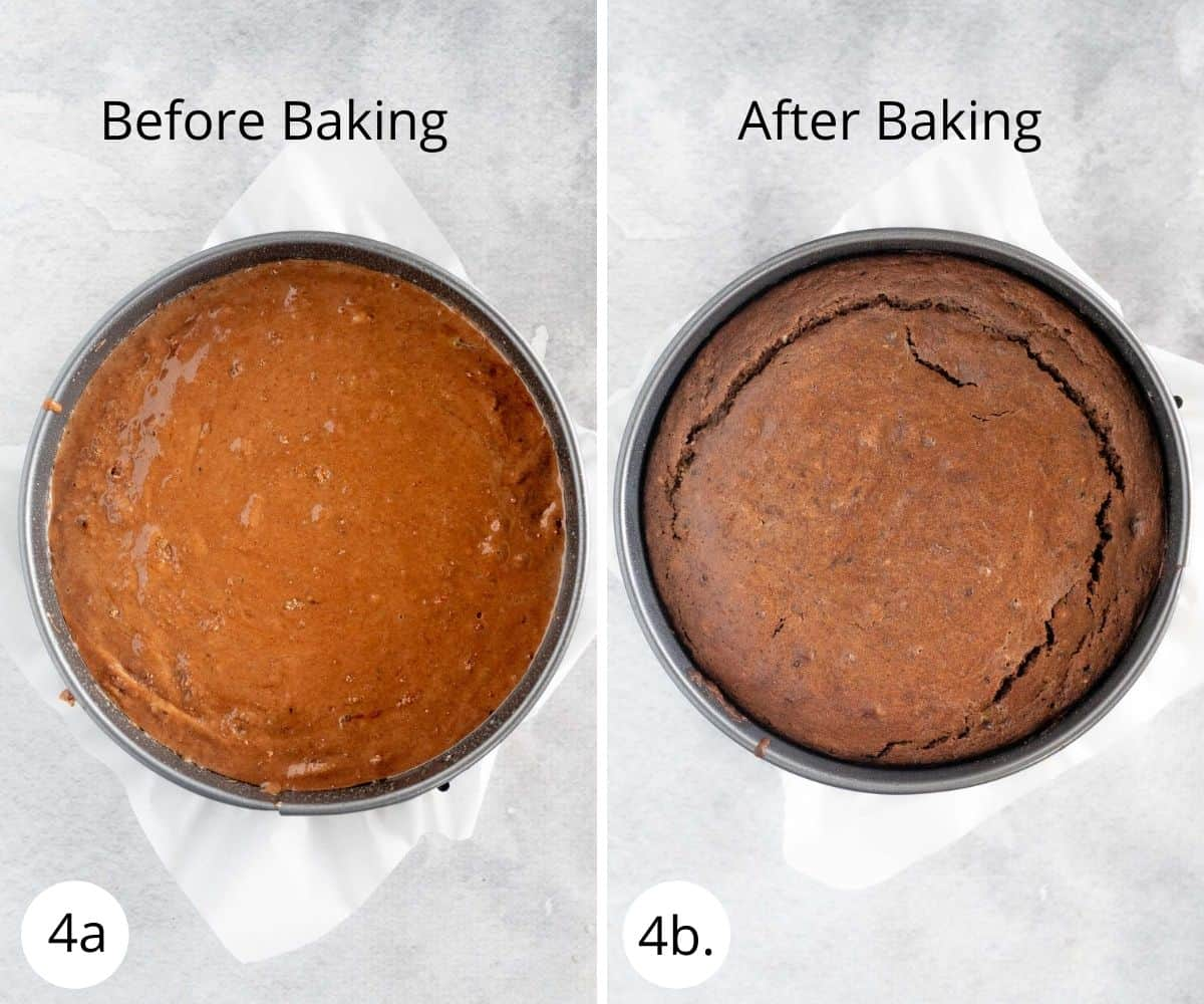 chocolate cake before and after baking