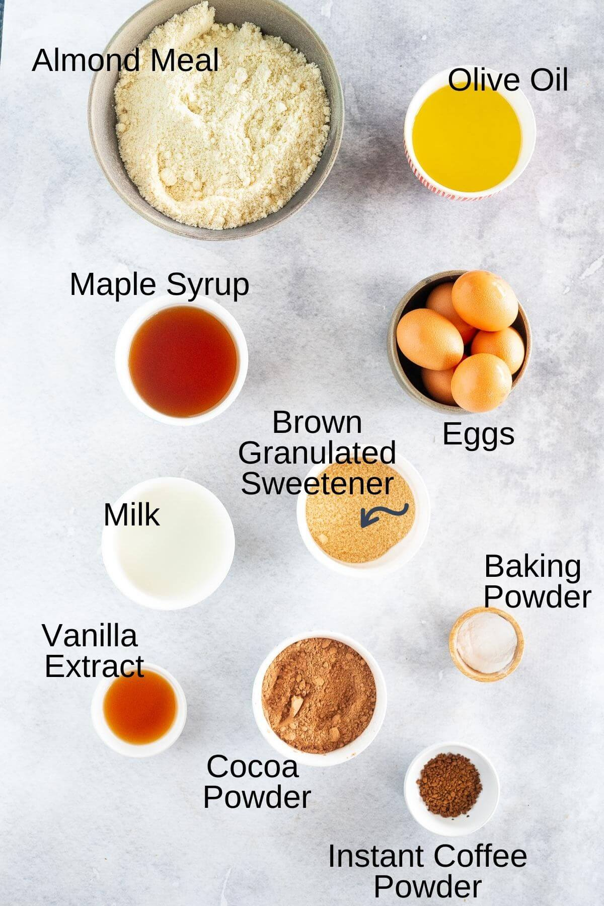 ingredients for chocolate coffee cake